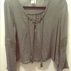 Sage colored lace up top- size m